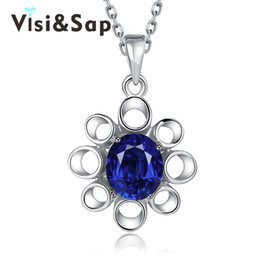 Flower Gift For Love Australia - Visisap Vintage noble Anniversary Necklaces for women Blue Flower cubic zirconia Pendant jewelry Simple gifts necklace VLKN897-C