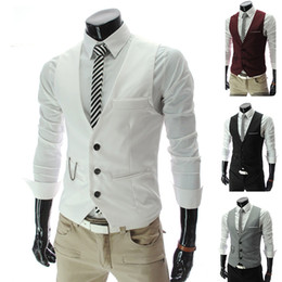 Vêtements De Survêtement Pas Cher-Nouvelle conception de mode Groom Vest Gilets de mariage Casual Slim Mens Suit Vest White Waistcoat High Quality