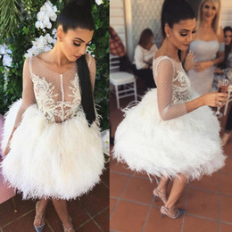 feathered white cocktail dress 2019 - Feather Cocktail Dresses With Sleeves Sexy Short Ball Gown Prom Dress Sheer Lace Appliques Evening Gowns cheap feathered