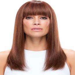Indian Women Long Hair NZ - Full Lace Wigs Raw Indian Hair Wig Full Lace Human Hair Wig Senior silk Long Wavy Brazilian Virgin Hair 100% With Bangs For women Color 33#