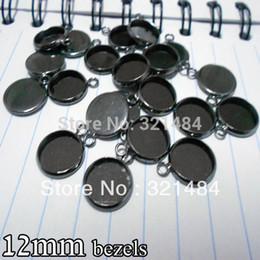 Blank Bezels Canada - gunmetal black 500piece 12mm bezels round hung charm earring dangle pendant tray jewelry blanks cameo base cabochon setting