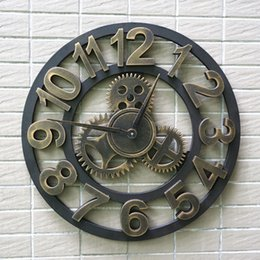 wholesale handmade oversized 3d retro rustic decorative luxury art big gear wooden vintage large wall clock on the wall for gift saat discount large