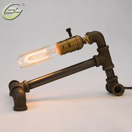wholesale vintage edison bulbs table lamp black iron base water pipe desk lamp lighting