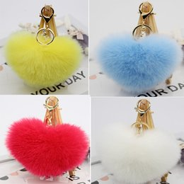 Carro Cars NZ - 100Pcs lot 12*10cm Rabbit Fur Heart Shape Ball PomPom Charm Car Keychain Handbag Pendant Key Rings Llaveros Mujer Chaveiro Carro
