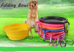 $enCountryForm.capitalKeyWord Canada - Silicone Collapsible Dog Bowl Food Grade Portable Pet Dog Cat Puppy Feeding Bowl with Carabiner Folding Dog Water Dish Feeder Travel Bowls