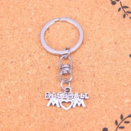 metal keyholders NZ - New Fashion baseball mom heart Keychains Antique Silver plated Keyholder fashion Solid Pendant Keyring gift