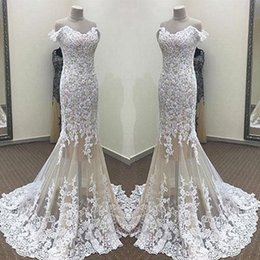 Barato Fotos Da Sereia Vintage-Real Pictures Stunning Lace Mermaid Evening Dresses 2017 New Off Shoulders Appliqued Tulle Long Vestidos de fiesta Bridal Receptio Gowns
