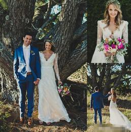 $enCountryForm.capitalKeyWord Canada - Sexy Deep V Neck Bohemian Sheath Wedding Dresses Open back Sheer Long Sleeves Lace Appliques 2016 Boho Bridal Wedding Gowns For Beach Garden
