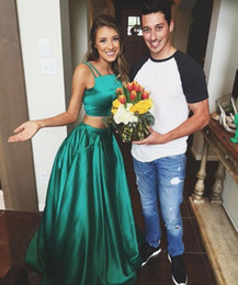 $enCountryForm.capitalKeyWord NZ - Two Piece Green Long Prom Dresses Square Neck Pocket Ball Gown 2017 Cheap Sexy Sash Dresses For Party Gowns Formal Evening Dresses