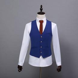 2017 D'été Ferme De Mariage royal Bleu Tweed Gilets Sur Mesure Groom Gilet Slim Fit Mens Costume Gilet De Mariage De Mariage Gilet en Solde