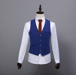Hommes Slim Fit Forfaits Pas Cher-2017 Summer Farm Wedding Royal Blue Tweed Vestes Custom Made Groom Vest Slim Fit Hommes Veste Veste Prom Wedding Waistcoat