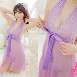 V String Girl Canada - Wholesale- Women Girls' Sexy Lace See Through Babydoll Nightdress G-String Lingerie