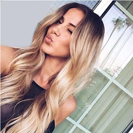 Synthetic wavy ombre hair online shopping - Natural Black Ombre Brown b mix Curly Wavy Synthetic Hair Wig Heat Resistant Glueless Synthetic Lace Front Wigs for Black Women