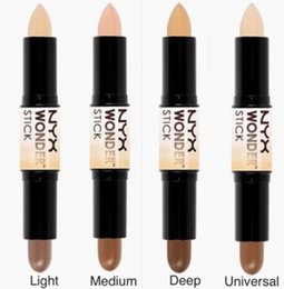 circle shades Australia - In stock NYX Wonder stick highlights and contours shade 4 colors Light Medium Deep Universal Double-ended Concealer free shipping