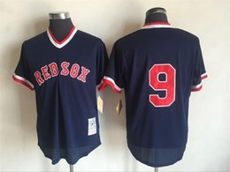 ... Jersey - Mens Boston Red Sox 9 Ted Williams Mitchell Ness Cooperstown  Collection Mesh Batting Practice Navy Blue ... 758d91d019e