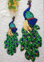 $enCountryForm.capitalKeyWord Canada - 2pcs Peacock parches ropa Sequin Patch For Clothing Glitter Embroidered Patches Blouse Fabric Patchwork Applique Badge Cloth Accessories