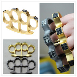 Women Knuckle Dusters NZ - finger tiger brown window tool GILDED THICK STEEL BRASS KNUCKLE DUSTER gold silver Protective Gear women men self-defense equipment