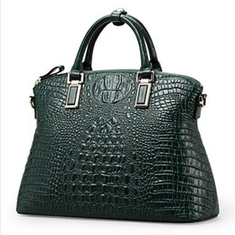 Wholesale hot selling fashion ladies100 geniune leather green crocodile tote women bag Gold hardware women tote handbags ZD
