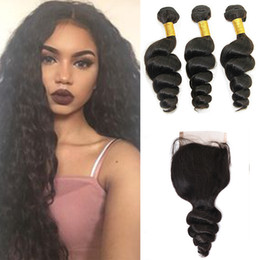 brazilian virgin human hair extensions NZ - Raw Virgin Brazilian Hair Malaysian Cambodian Peruvian Indian Loose Wave Extensions With Closure Hair Bundles Dyeable Best Human Hair