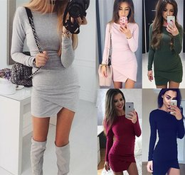 Sexy Winter Shirts Canada - 2017 New Arrival Womens Fashion Autumn Winter Dresses Ladies Grey Asymmetric Casual Round Neck Long Sleeve Shift Tees Shirt Dress