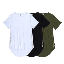long sleeve curve hem tee men 2019 - 2016 100% Cotton Long Oversize T-shirt Black Side Zipper T Shirt Homme Curved Hem Extend Multi Fold Tee free shipping ch