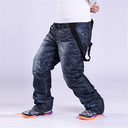 Warm Waterproof Pants Men Canada - Wholesale- Plus size S-3XL Denim suspenders for Ski pants men waterproof snow pants Ski trousers thick warm Breathable jean snowboard pants