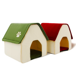 korean bedding Canada - Dog House Red and Green Pet Kennel New Design Easy to Take and Packaged Puppy Cat Room Funny High Quality Beds Free shipping