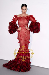 Celebrity Occasions Dresses UK - Amfar Charity Cannes Burgundy Mermaid Evening Dresses 3D Flora Appliques Lace Court Train Celebrity Dresses Formal Prom Occasion Gowns