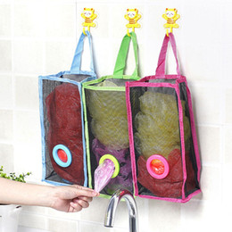 $enCountryForm.capitalKeyWord Canada - Creative Kitchen Bathroom Storage Bag Hanging Breathable Plastic Grid Garbage Bag Pouch Convenient Extraction Socks Storage Bags