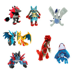 new dolls 2019 - New 23-35cm 8 Style Mega XY Lucario Charizard Lugia Kyogre Groudon Zoroark Swampert Plush Doll Stuffed Toy 23-35cm cheap