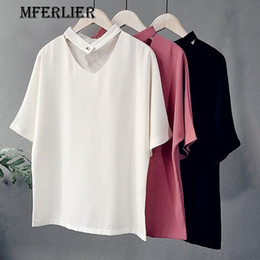 Barato Camisas Brancas Sólidas De Chiffon Preto-Fashion Summer Blouse Solid Brief Preto Branco V Neck Botão de cor sólida Red Short Sleeve Chiffon Shirt