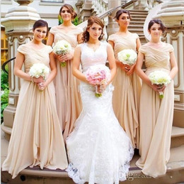 summer beach wedding bridesmaid dresses Canada - Vestidos Bridesmaid Dresses 2017 New Cheap V Neck Cap Sleeves Long For Wedding Chiffon Summer Beach Plus Size Party Maid of Honor Gowns