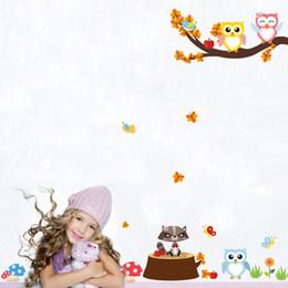 Discount self stick flower decals - DIY Flower Cute Owls Wall Stickers for Baby Room Nursery Home Decor Cartoon Wall Decal Mural Art