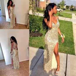 Eveing ​​robes Or Pas Cher-Sparkle Gold Sequins arabe High Slit Prom Dresses Partie V Neck Gaine Backless Plus Size Pas Cher Africain Graduate Gowns Eveing ​​Wear