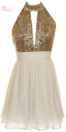 Bust Light Canada - Short Cheap Cocktail Party Dresses 2017 Halter Neck Gold Sequined Keyhole Bust Draped Pleats Chiffon Mini Junior Formal Party Prom Dress