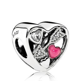 necklace cube UK - 2017 Valentine's Day S925 Sterling Silver Love Struck Charm Bead with Clear Cz Fits European Pandora Style Jewelry Bracelets & Necklace