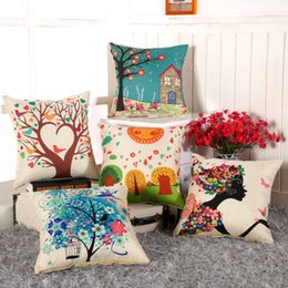 Discount wholesale decorative cushions - 18*18 inches Charming Pattern Cushion Covers Cotton Linen Fashion Cushion Covers Decorative Chair Waist Squre Throw Pill