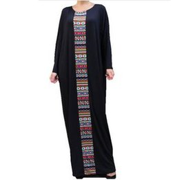 Barato Abayas De Tamanho Mais Para Mulheres-Preto Caftan Maxi Vestidos Mulheres Tamanho Plus Kaftan Abaya Vestido Oversized Aztec 2017 Loose Waist Long Robe Bat Sleeve Dashiki Casual Vestidos