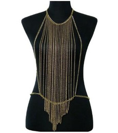 harness bra top NZ - Sexy Womens Bralette Chain Gold Tone Necklaces Tassel Harness Bra Top Fashion Body Chain Crystal Chain Bra