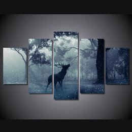 highest quality digital prints NZ - Framed HD Printed Snow animal deer 5 Panel Forest Painting Printed on High Quality Canvas,Home Wall Decor size can be customized