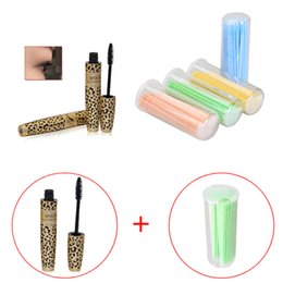Barato Máscara Do Chicote Do Olho Do Leopardo-Leopard Long Curling Eyelash Preto Fibra Thick Mascara Eye Lashes + 100Pcs One-off Micro Brushes