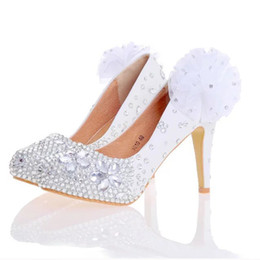 Bridesmaids slip dresses online shopping - White Red Women High Heels Silver Rhinestone Wedding Party Shoes Handmade Bridal Dress Shoes with Appliques Bridesmaid Shoes