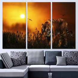 hunting decor 2020 - 3 Panels Canvas Art Tiger Hunting Land Sunset Home Decor Wall Art Painting Canvas Prints Pictures for Living Room Poster