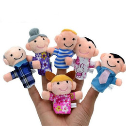 Discount puppets - Velvet Family Finger Puppet 6 People Cloth Toy Helper Doll Gift Cartoon Soft Plush Education Hand Dolls Toy