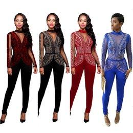 Discount plus mesh jumpsuit - Wholesale- S-3XL 6 Plus sizes 4 colors Mesh Hot drilling party Bandage bodycon Autumn women playsuits casual fashion Jum