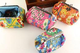 $enCountryForm.capitalKeyWord Canada - 50pcs New Fashion Vintage embroidery flower coin purse canvas key holder wallet hasp small gifts bag clutch handbag Christmas gift