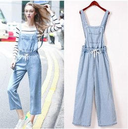 Barato Manga Longa Denim-Atacado- JOYINPARTY New Spring Denim Jumpsuits Mulheres Vaqueros Romper Long Pants Jeans loose Overalls Suspender Female Slim Catsuit