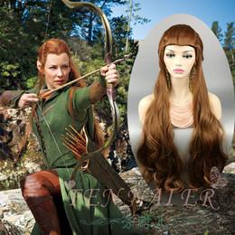 Venta al por mayor de Cinco ejércitos Tauriel extra Señor de los anillos Hobbit Elf Capitán Tauriel 100 cm larga ondulado Marrón peluca de pelo Cosplay para mujeres