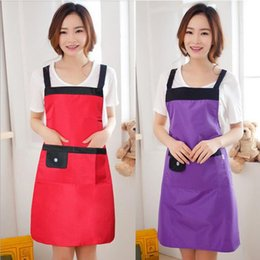 $enCountryForm.capitalKeyWord NZ - hotsale home textiles korean fashion long sleeveless waterproof cute Bib kitchen cooking aprons with pockets for men and women free shipping