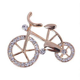 Discount bicycle pins - Wholesale- Hot New Beautiful Fashionable Trendy Unisex Fancy New Elegance Gold Rhinestone Crystal bike bicycle Brooch pi